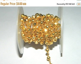20%off. 20 Percentoff. Golden pyrite Quartz Wire Wrapped Beaded Chain -Gold Plated Rosary Style Chain-Free shipping