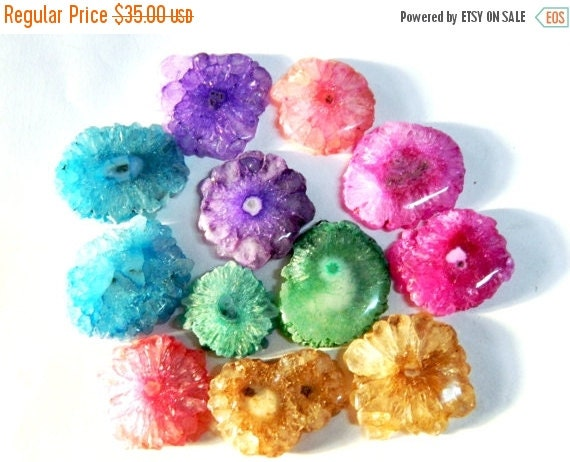20%off. Multicolor Solar Quartz Stalactite Slice, Druzy Slice,Pendant Bead.Drill with an Hole on the Top to Bottom