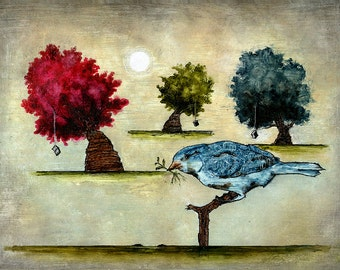 "Art print // Blue bird - trees - books // ""Tausch"""