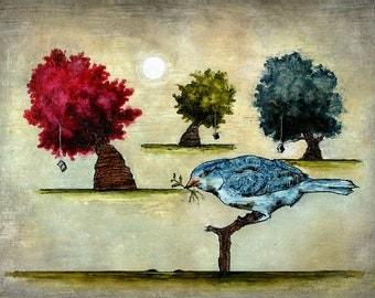"""Art print // Blue bird - trees - books // """"Tausch"""""""