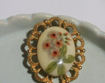 Cute Coral Floral Faux Porcelain Pin, Vintage