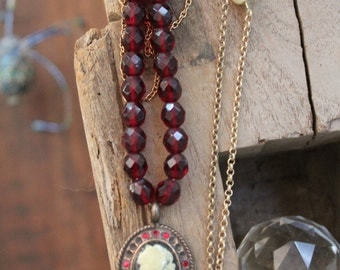 Vintage Style Necklace with  Glass Beads and Faux cameo Christmas Gift Ruby glass beads