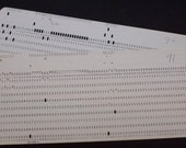 Set of 4 Vintage 1970's White IBM Computer Punch Cards/Data Processing Cards/ Punched Cards. Actually used to write a Computer Program