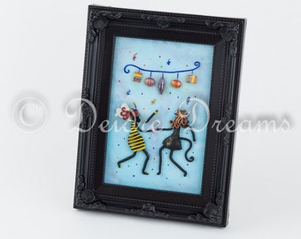 RESERVED - Girls Nursery Art, Girls Room Decor, Costume Party Art, Nursery Decor, Bee Girl Art Decor, Cat Girl Art Decor, Nursery Wall Art
