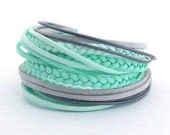 Summer trends, Mint Wrap Bracelet, Pastel Colors Boho Bracelet, Bohemian Jewelry, Pastel Colors Gypsy Bracelet, gift for her , boho chic