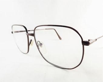 Mens Bronze Eyeglasses, Metal Glasses, Square Glasses, Brown Eyeglasses, Big Eyeglasses