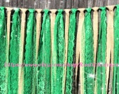Emerald green hanging Wedding garland, Rustic charm burlap and emerald green rag tie, Wedding decoration, rustic event decor hanging swag