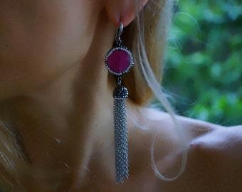 Sally - Elegant Pink Jade and Rhinestones Statement Earrings