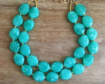 Mint Necklace Statement Turquoise Necklace Neutral Statement Necklace Bridesmaid THE MEDITERANNEAN NECKLACE Wedding Jewelry Statement