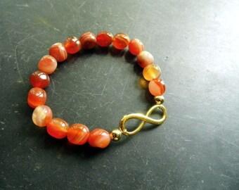 Bracelet, Carnelian, infinity, orange, jewelry, women, protection