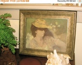 SALE Impressionist Oil Painting, Portrait in Golds and Greens, by Listed Artist, Irma Cavat,  Professional Framing