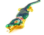 Alligator Brooch Guilloche Enamels Gold Tone Metals Pink Rhinestone Collar Eyes Vintage Figural