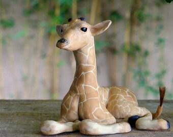 Giraffe, at rest, Porcelain Giraffe Sculpture
