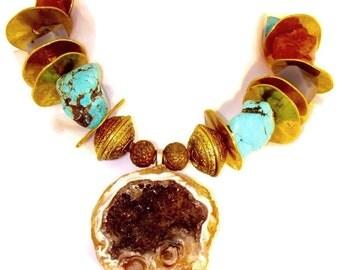 Southwest /geode/ statement choker/ multiple gemstone /turquoise/choker necklace