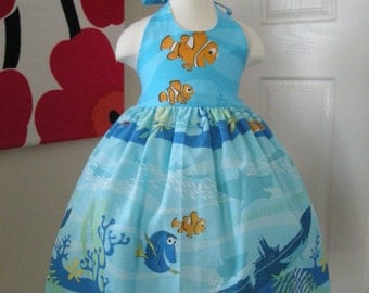 Custom Made to Order Disney finding Nemo party dress Sz 12M to 6T