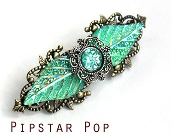 Elven Forest green Iridescent Leaves Metal Barrette hair clip - Green leaf Fantasy style filigree clip for larp costume,bridal court