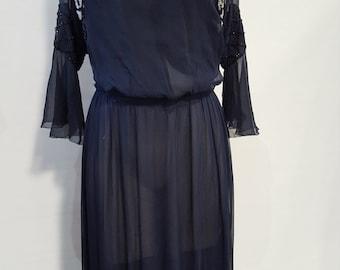 1910's Midnight Blue Silk Chiffon Evening Dress with Beading