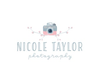 Premade Photography  Logo, Camera and Floral Branches Illustration Logo Design 346