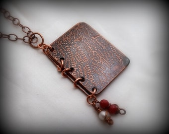 Etched copper book pendant, Make time, Take time by RECREATE4U