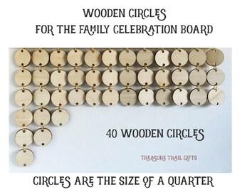 40 Wooden Circles Family Celebrations Boards , Wood Disks, Treasure Trail Gifts, Artztanaria