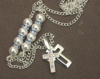 Necklace-Cross-Cross Necklace-Silver Necklace-Silver Cross-Silver Cross Necklace-Pearl Necklace-Blue Necklace-Crystal Necklace