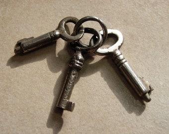 3 Tiny Antique Keys, Miniature Vintage Keys, Mini Collectible Steel Keys, Tiny Key Lot, Steampunk Keys, Old Keys