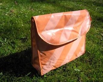 Vintage Cosmetic Bag, Toiletries Bag, Retro Cosmetic Purse, Vintage 1980s Pink and Orange Striped Travel Bag, Purse, Berliner brand Solidar