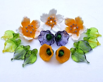 Lampwork Glass Flower Beads for Jewelry Making, Set of Yellow-White Flowers, With Flower Caps and Leaves, Made to Order