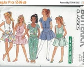 ON SALE Fast & Easy Butterick 6361 Girls Top, Culottes, Skirt and Pants Pattern, Size 7-8-10 UNCUT