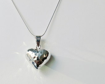 Hammerred sterling silver puffy heart pendant