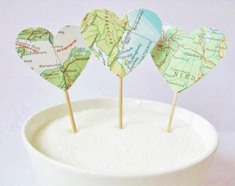 12 x Vintage Atlas Map Heart Cupcake Picks - Cupcake Toppers - Flags - Wedding - Map Bridal Shower,