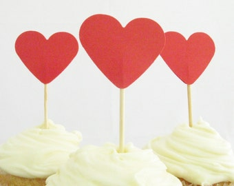 12 x Red Heart Cupcake Toppers - Bridal Shower Decor, Wedding Decor, Valentine Day, Romantic Cupcake Toppers