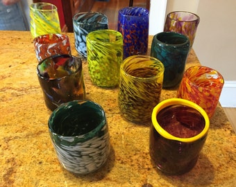 Small hand blown drinking glasses