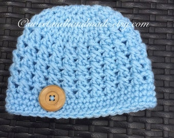 Crochet baby boy blue crochet hat with big wooden button newborn size