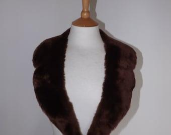 Vintage Faux Fur Collar Brown