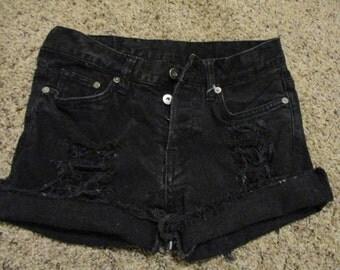 """Denim jean cut off shorts size 29 black button fly Denim & Denim brand 29"""" waist, Slim, Low Waist"""