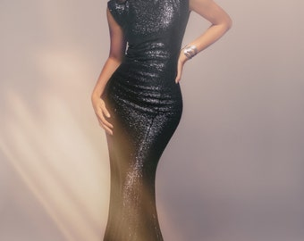 Gorgeous and Glamorous Black Sequins Hollywood Red Carpet Black Tie Evening/Party Gown.  Custom for You!