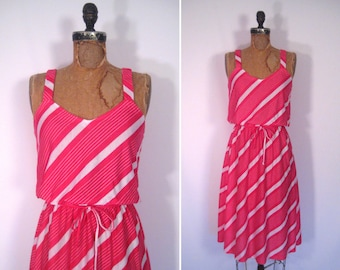 1970s striped sundress • 70s pink and white summer dress • vintage somewhere my love dress