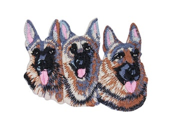 Three 3 German Shepherd Dogs Patch Cute Canine Animal Pet Craft Iron-On Applique