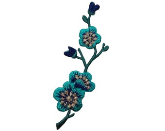 ID #6587B Teal Blue Flower Buds Patch Tree Branch Plant Craft Iron-On Applique