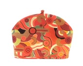 Abstract Coral Teapot Cozy / Fabric Tea Pot Warmer / RedLeafStitchCraft