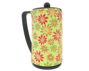 Bodum Press Cozy, Flowers Coffee Pot Cozy, Fabric French Press Coffee Maker Cozy, Lime Green Floral, Handmade Cozy by RedLeafStitchCraft