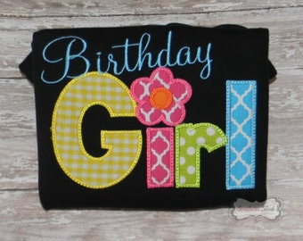 Birthday Girl Colorful Embroidered Shirt or Bodysuit