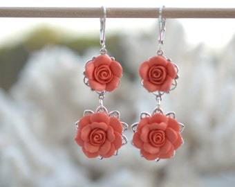 Double Roses Earrings in Coral Orange. Coral Flower Earrings. Coral Bridesmaid Earrings
