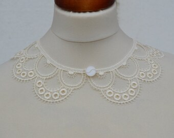 Cotton Ecru Peter Pan Collar, Ecru Detachable Collar and  button, Lace Collar, Lace Necklace, Detachable Collar Necklace, gift for her