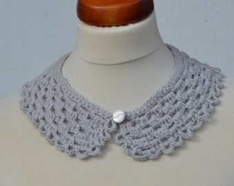 Peter Pan Collar,Crochet Collar,Light Gray color, Detachable Collar Necklace, Light Gray crochet Collar,gift for her.