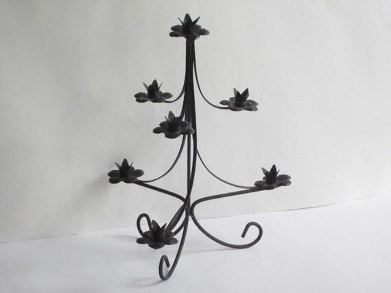 Vintage black metal christmas tree candle holder