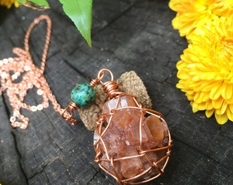 OOAK Aragonite cluster & African Turquoise copper macrame Necklace