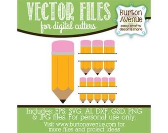 Pencils Digital Cut File (eps,svg, gsd,dxf, ai, jpg, png)