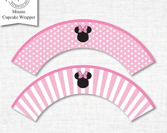 Minnie Cupcake Wrappers, cupcake wrapper printable, cupcake label printable, Minnie Party Printable,